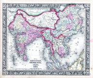 Hindoostan, Farther India, China and Tibet, World Atlas 1864 Mitchells New General Atlas